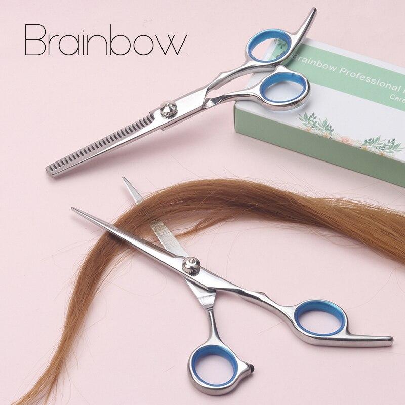 Brainbow 6 pouce De Coupe Éclaircie Styling Outil Cheveux Ciseaux En Acier Inoxydable Salon De Coiffure Cisailles Régulière Plat Dents Lames