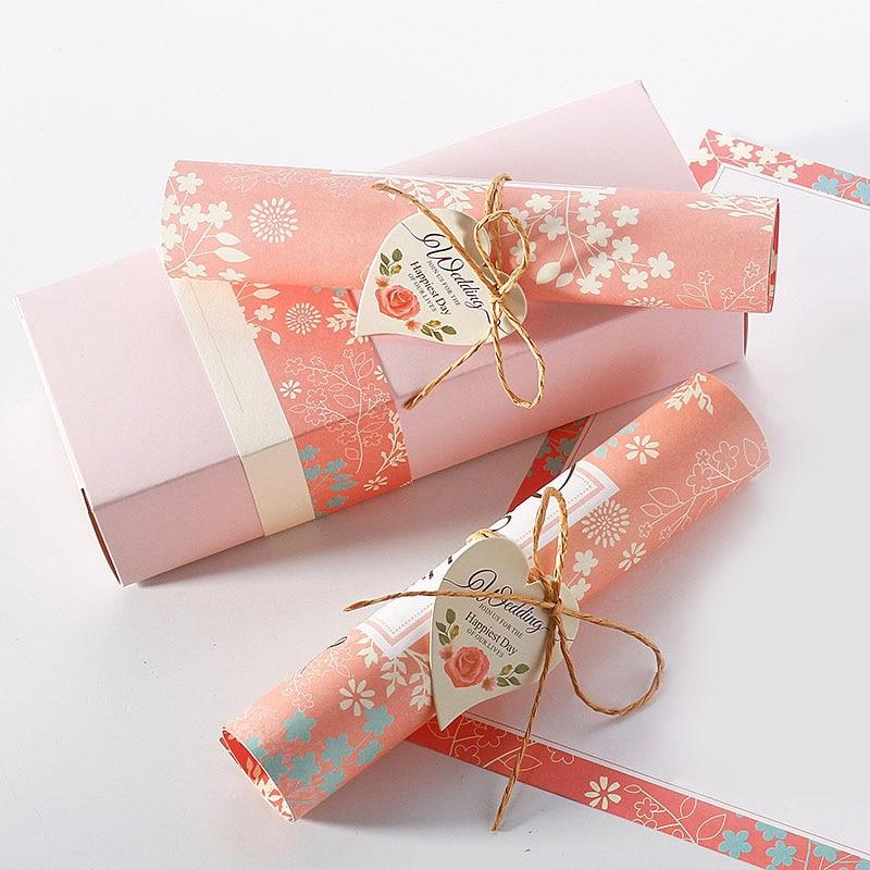 Gift Box Wedding Invitations: 10pcs/Lot Wedding Invitations Box Elegant Card Rope Scroll