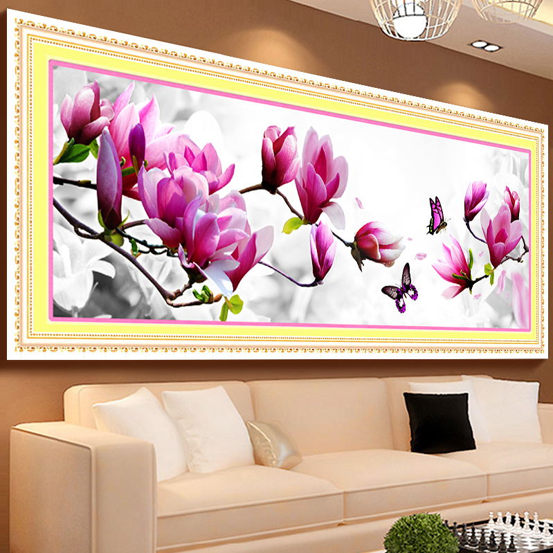 Butterflies play magnolia diy 5d diamond painting for Room decor 5d