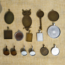 5 Pcs/lot 18-40mm Antique Bronze Cabochon Cameo Base Setting Jewelry Making Findings Oval Square Owl Necklace Earring Pendant mibrow 10pcs lot stainless steel 8 10 12 14 16 18 20mm blank french lever earring tray cabochon setting cameo base jewelry