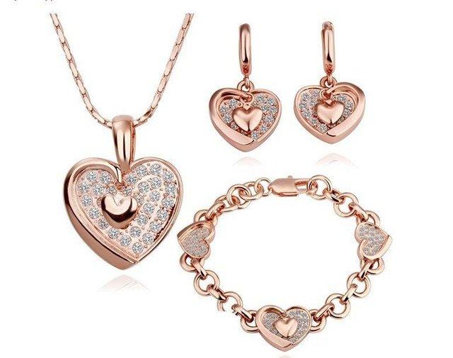 18KGPS042 18K Gold Plated Sets Health Jewelry Nickel Free K Golden Plating White Gold Rhinestone Austrian Crystal  Element