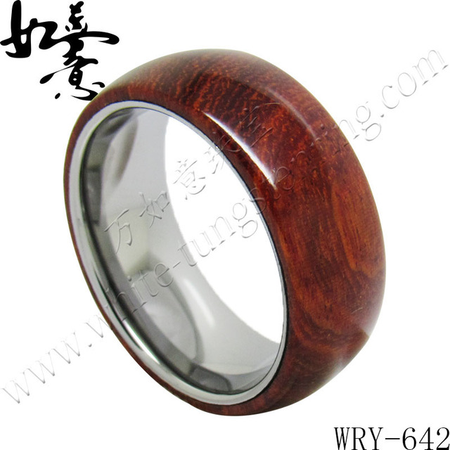 Free Shipping New Pattern Real Wood Inlay Tungsten Ring For Wedding Band Good Quality Fashion Jewelry