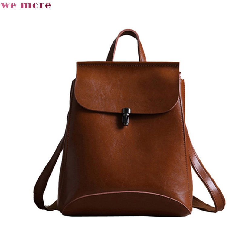 WE MORE Upgrade 2018 Genuine Leather Backpack Women Bag Oil Wax Cow Leather Vintage Backpacks Female Back Pack Casual Shoulder kajie famous brand designer backpack for women 2018 retro genuine leather female back pack oil wax cow leather ladies travel bag