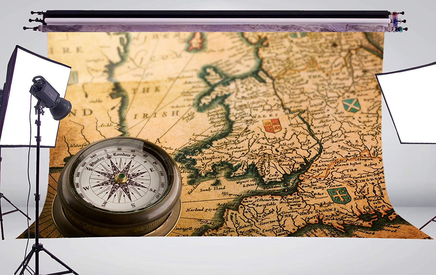 Exquisite Handmade Yellow Paper With Detailed World Map with Compass Background Retro Photography Background Wall Painting in Photo Studio Accessories from Consumer Electronics