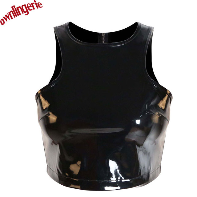 Free Shipping Cheap Women Short Crop Top Fetish Style Clubwear Croptops Zip Back PVC leather Tank Tops,Wetlook Pu Tube Top