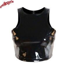Free Shipping Cheap Women Short Crop Top Fetish Style Clubwear Croptops Zip Back PVC leather Tank Tops,Wetlook Pu Tube Top