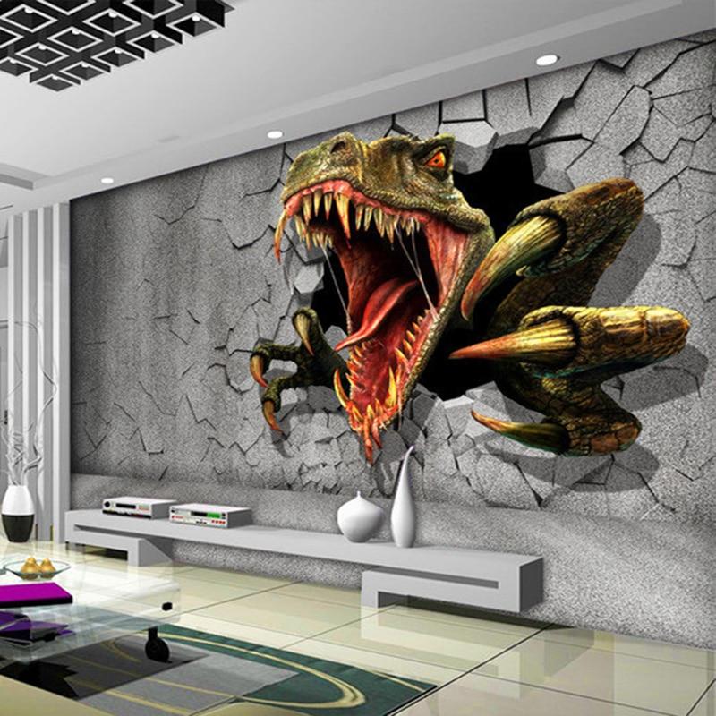Custom Size 3D Stereo Brick Wall Modern Creative Art Wall Painting Dinosaur Broken Wall Decorations Living Room Photo Wallpaper