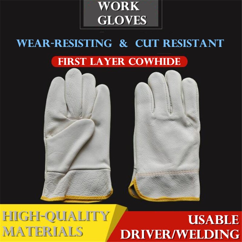 First Layer Cowhide Work Gloves Cut Resistant Driver/welding Multifunction Wear-resisting Adiabatic Men's Leather Gloves