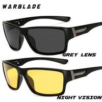 WarBLade Nachtsicht Sonnenbrille für Männer UV400 Schutz Nacht Fahren Gläser Männlichen HD Polarisierte Gelb Objektiv Sonnenbrille W1821