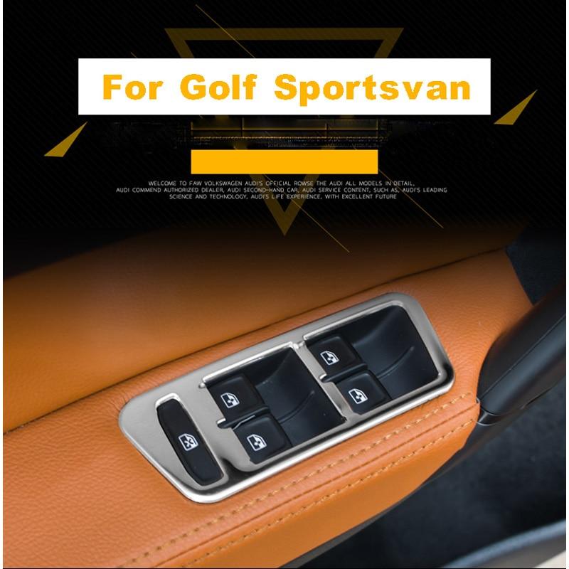 Car Accessories For Volkswagen VW Golf 7 2014 2015 2016 2017 ABS Inner Door Window Switch Cover Trim Fit Left Hand Drive 4Pcs