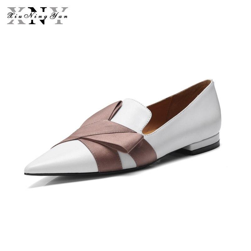 XiuNingYan 2018 mode femmes appartements en cuir véritable chaussures femme dames marque Sexy bout pointu mocassins chaussures décontractées appartements de base