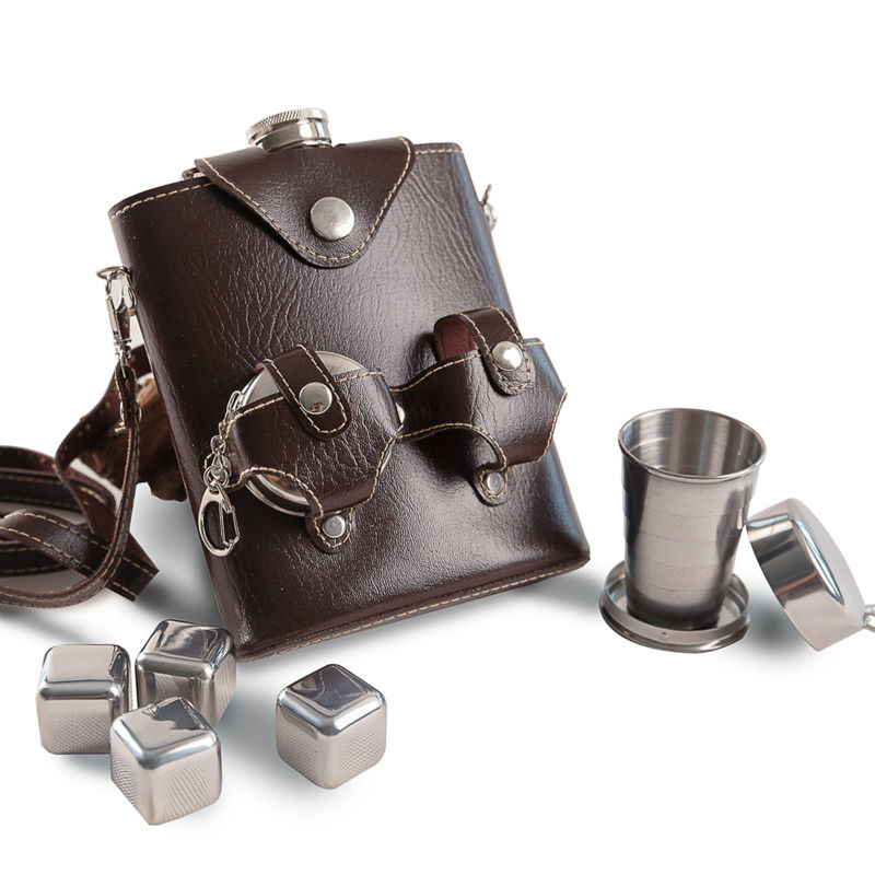 Mealivos portable 18 oz Food safe Stainless Steel Hip Flask with 4 pcs ice cubes funnel