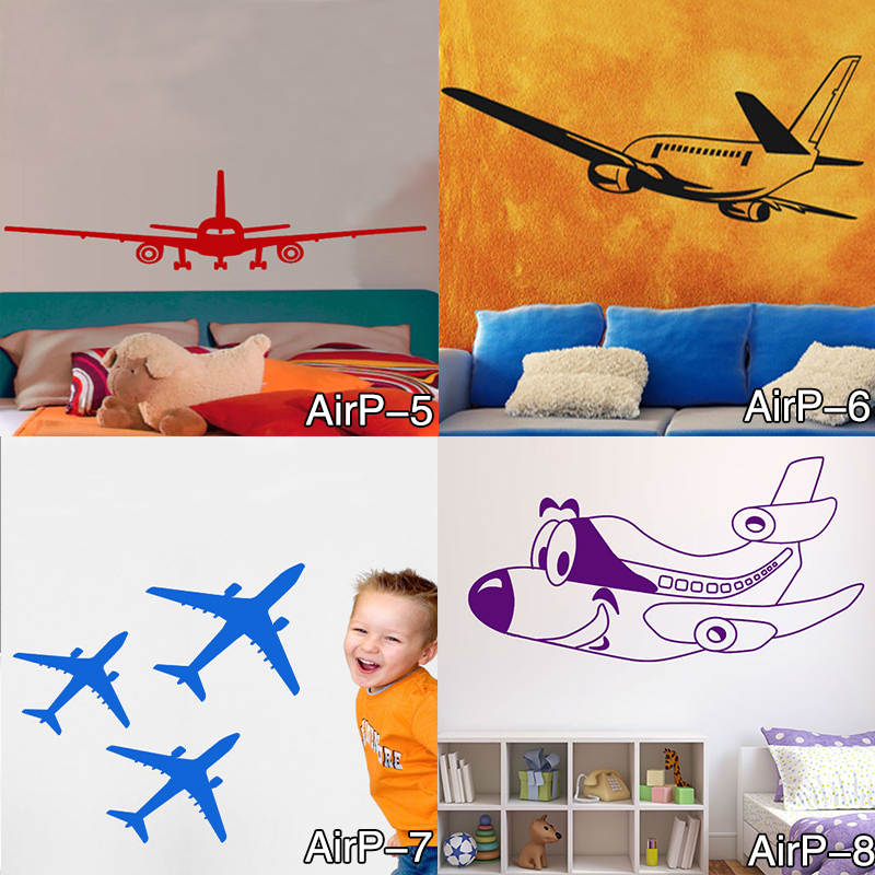 DIY Airplane Wall Stickers Airliner Vinyl Decal Home Decor 3D Airplane Silhouette Aircraft Home Decor for Kids and boys Bedroom elegant diy purple mangnolia and letters pattern wall stickers for home decor