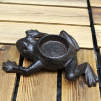 European Vintage Small Frog Figurines Shaped Cast Iron Tea Light Candle Holder