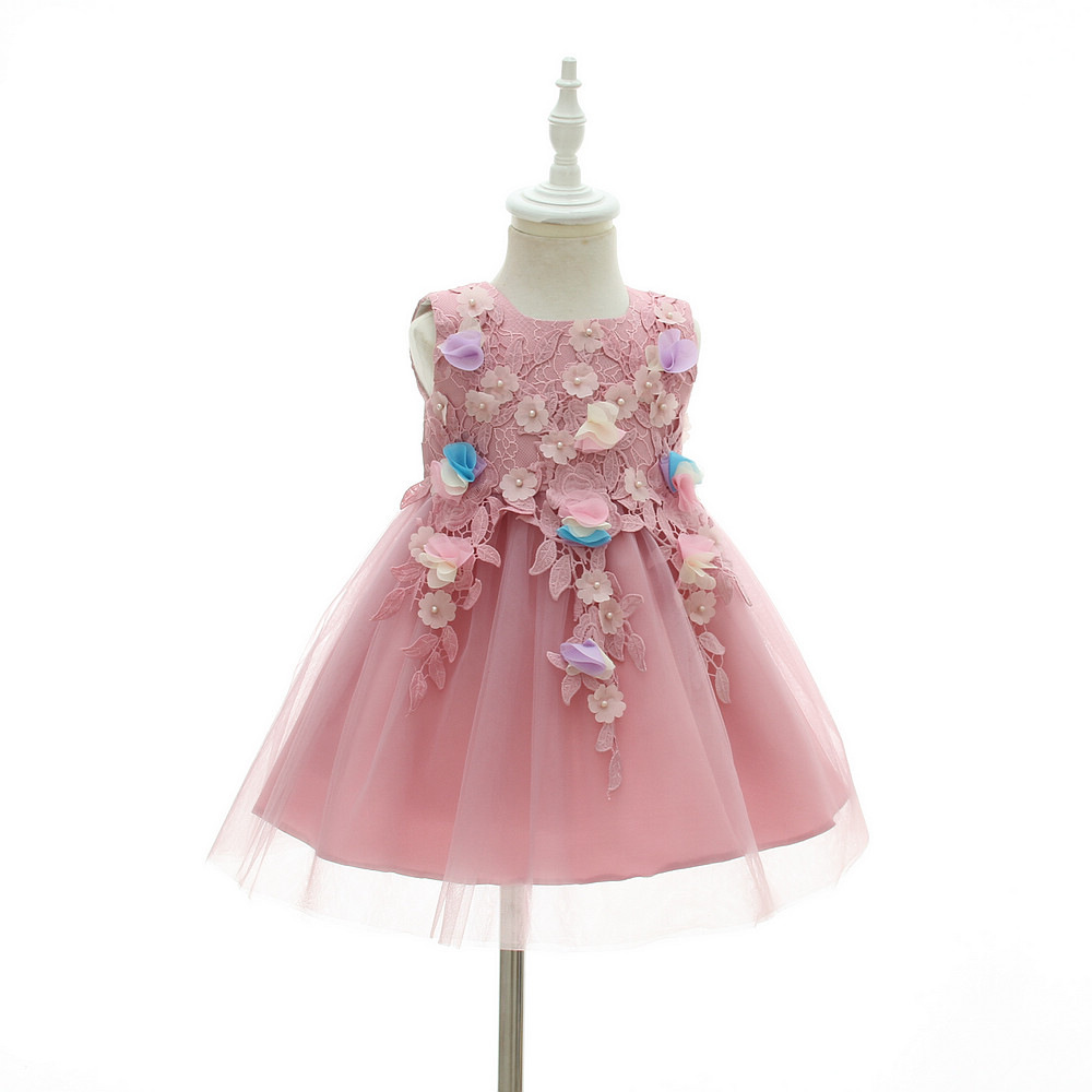 Pink Flower Girl Baby Dress For Weddings 1 2 Year Old Birthday ...