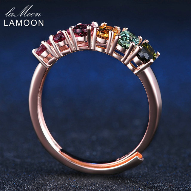 LAMOON 100% Real Natural 6pcs 1.5ct Oval Multi-color Tourmaline Ring 925 Sterling Silver Jewelry with 18K Rose Gold S925 LMRI005