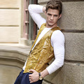 S-3XL Gold Sequins Double-sided Stage Bar Wedding Mens Classic Vest European England Style Waistcoat Gilet Homme Costume