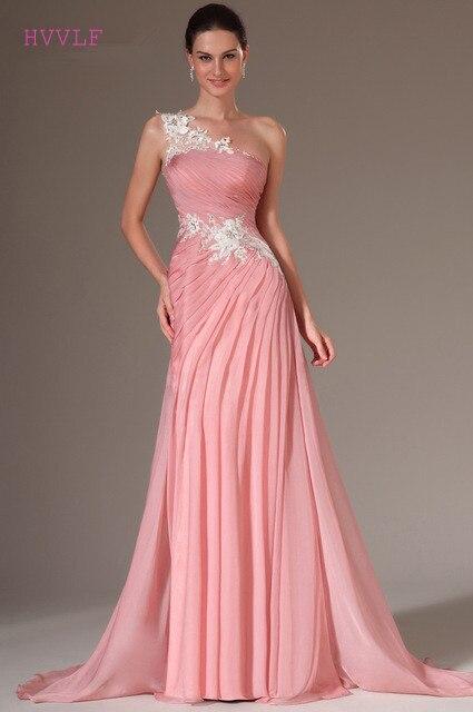 Pink Evening Dresses 2019 Mermaid One-shoulder Chiffon Appliques Lace Plus Size Long Evening Gown Prom Dresses Robe De Soiree