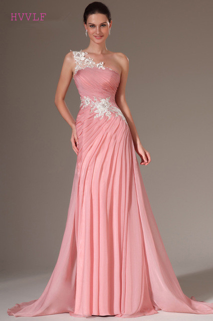 Pink   Evening     Dresses   2019 Mermaid One-shoulder Chiffon Appliques Lace Plus Size Long   Evening   Gown Prom   Dresses   Robe De Soiree
