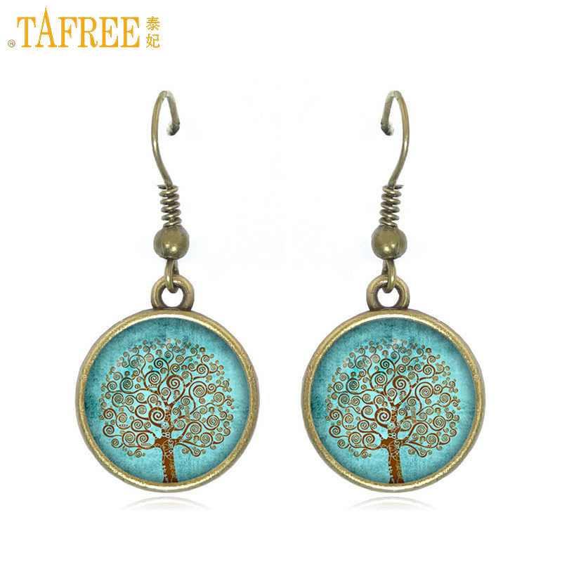 TAFREE antique bronze color tree of life pendant drop earrings for women party jewelry vintage life tree dangle earrings D919