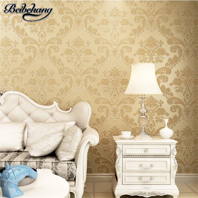 beibehang Deep Embossed 3D Relief Wallpaper Continental Damascus Refined Wallpaper Living Room TV Backdrop Nonwovens Bedroom book knowledge power channel creative 3d large mural wallpaper 3d bedroom living room tv backdrop painting wallpaper