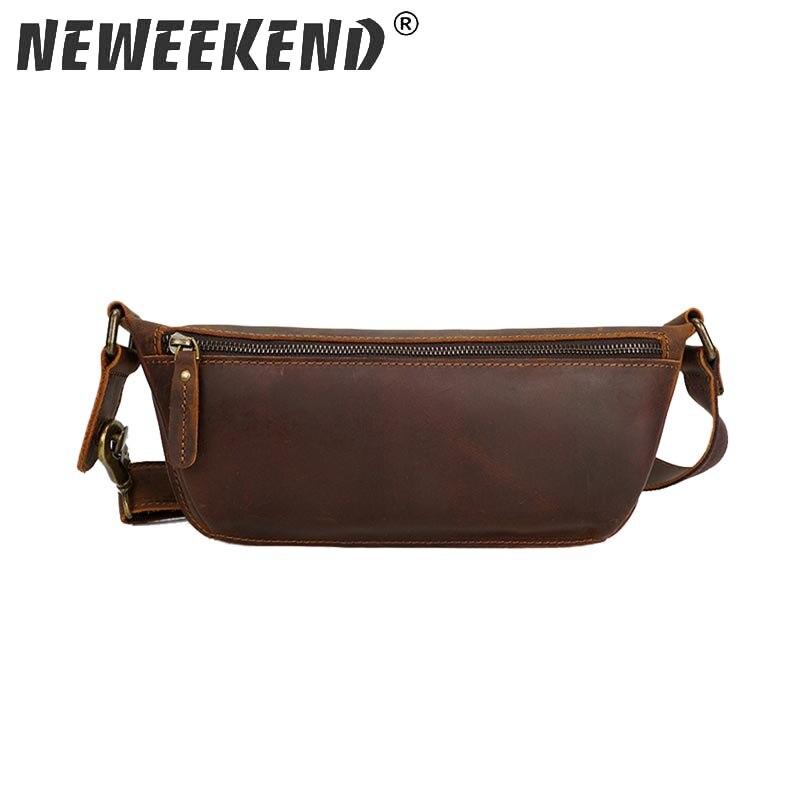 Crazy Horse Real Leather Genuine Cowhide Men s Waist Bag Fanny Hip Blet Pack Treval Messenger
