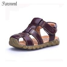 Enfants Chaussures Véritable peau de Vache En Cuir Sandales Demi-Trou Unique Chaussures Casual Confortable Paternité D'été Style