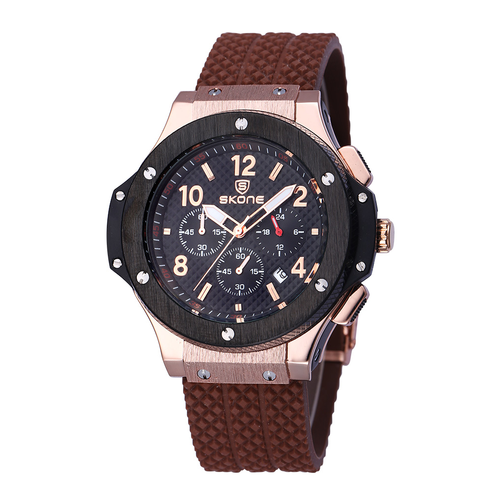 SKONE Male Date Chronograph Watches Men Silicone Strap Military Sports Watch Casual Army Wristwatch Male Quartz Watches