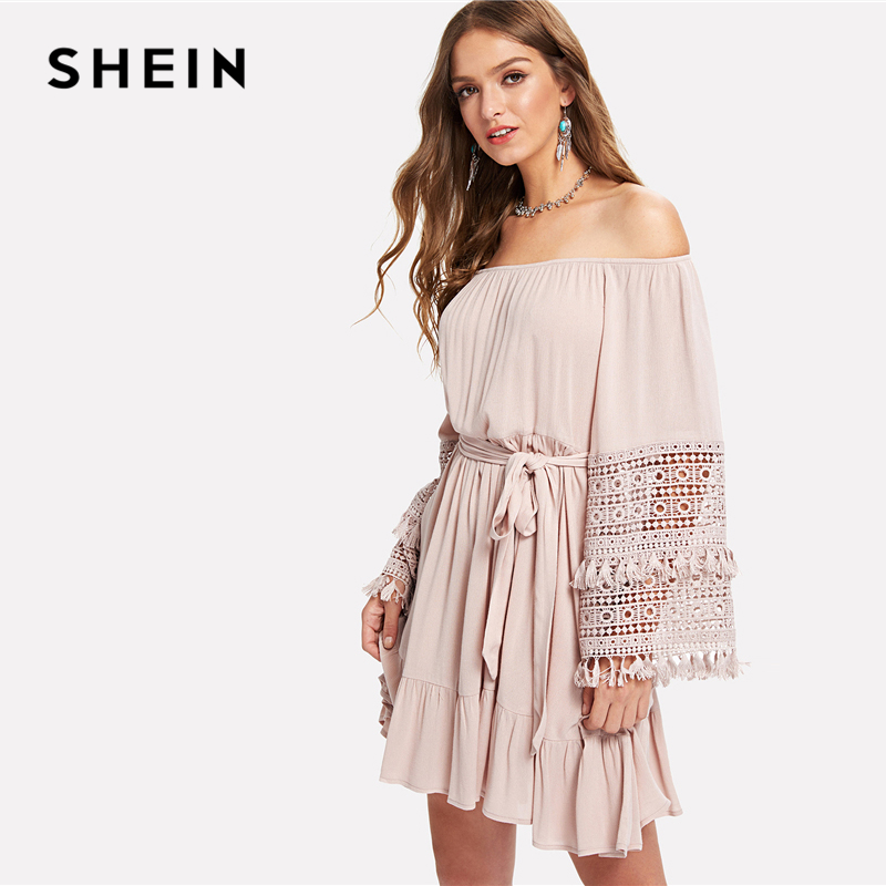 7339445b5cea SHEIN Pink Vacation Boho Bohemian Beach Tassel Detail Eyelet Lace Bell  Sleeve Belted Bardot Dress Summer Women Casual Dresses-in Dresses from  Women's ...