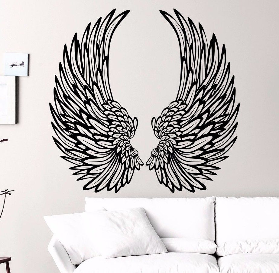 Art Decoration Angel Wings Wall Art Decal Nursery Bedroom Home Window Decor  Vinyl Sticker Living Room Wall Paper A 58 In Wall Stickers From Home U0026  Garden On ...