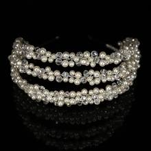 Hot Luxus Perle Kristall Hoop Gold überzogene Silber Kopf Hoop Braut Kopfschmuck Mode Frau Haarschmuck Hochzeit frauen schmuck