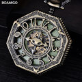 FOB мужчины механические часы антикварные карманные часы скелет arbic цифры аналоговый дисплей серебряная цепочка BOAMIGO горячий подарок reloj hombre