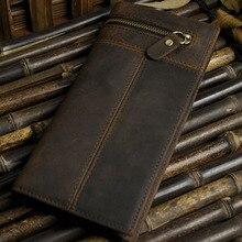 عالية الجودة الرجال حقيبة صغيرة محفظة مجنون الحصان جلد البقر جيب ذكر هاتف محمول حزمة الرجعية جلد طبيعي محفظة نسائية للعملات المعدنية