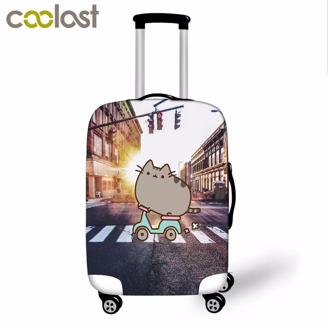 Pusheen Cat Luggage Cover for 18-28 Inch Trolley Suitcase Elastic Girls Cartoon Case Cover Cute Cat Baggage Travel Accessories