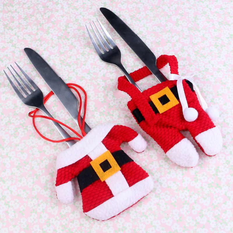Dapur Restoran Natal Sendok Garpu Tas Perlengkapan Celana Panjang Sendok Garpu Set Santa Karung Kaus Kaki Natal Trump