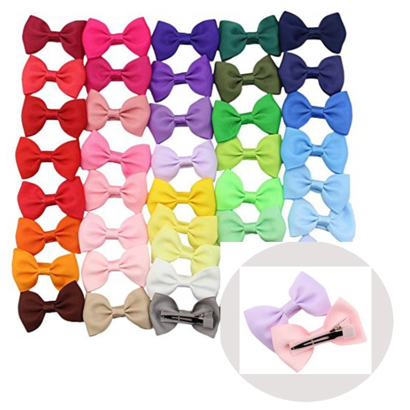 "41pcs Small 2.5"" Boutique Hairbow Clips Ribbon Bowtie Bows with Matching Color Alligator Clips Drop Shipping"