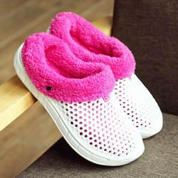 KESMALL зимняя обувь для Для женщин Мягкая плюшевая обувь без застежки Повседневное Крокус-сабо с мехом Подкладка из флиса домашние тапочки