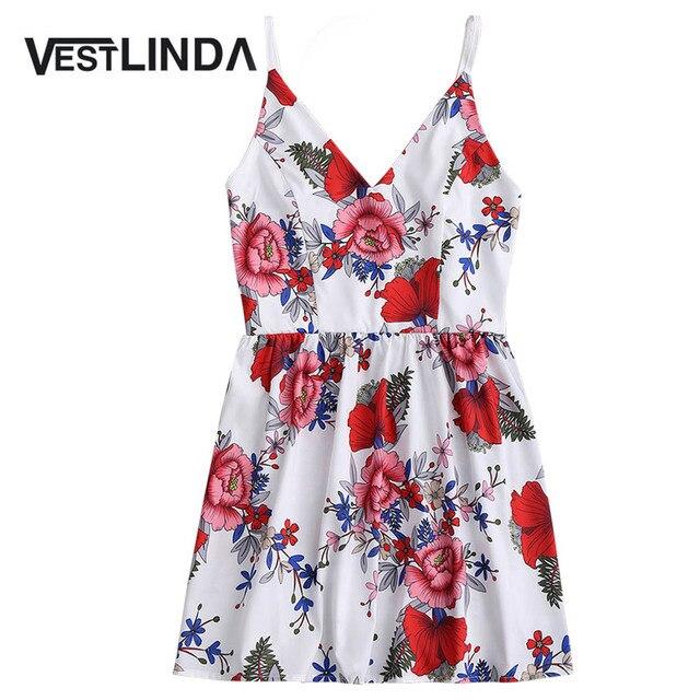 653fc8c21ae VESTLINDA Floral Print Cami Sundress Spaghetti Strap White Short Mini  Vestidos Summer Dress 2017 Robe Femme Sexy Boho Chic Dress