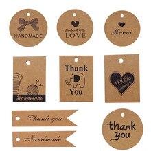 Étiquettes cadeaux Merci Kraft, 100 pièces, étiquette ronde en papier, faite à la main, décoration de fête de mariage, étiquettes de prix à suspendre
