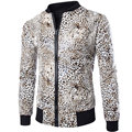 Brand Pu Leather Jacket Men Fashion Design Leopard Printed Mens Slim Fit Zipper Motorcycle Baseball Jacket Casual Jaqueta Couro