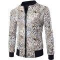 Brand Pu Leather Jacket Men Fashion Design Leopard Printed Mens Slim Fit Zipper Motorcycle Baseball Jacket Casual Jaqueta Couro