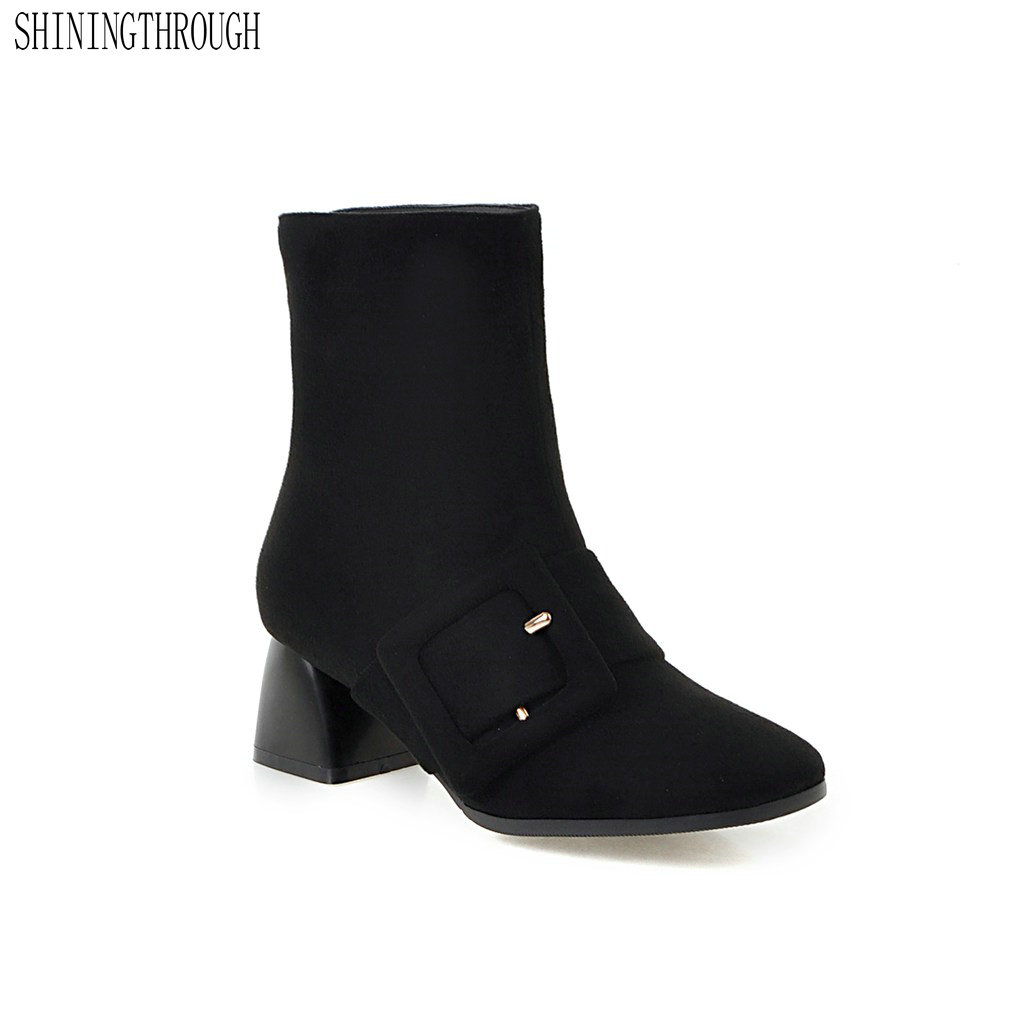 SHININGTHROUGH Brand Designers New Spring Autumn Women Shoes Black High Heels Boots Platform Ankle Boots Chunky Size 34-39
