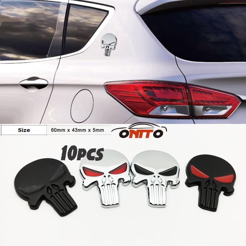10pcs 3D Metal Body Sticker Emblem Car Hood Badge Auto Bonnet Label Punisher car body emblem sticker