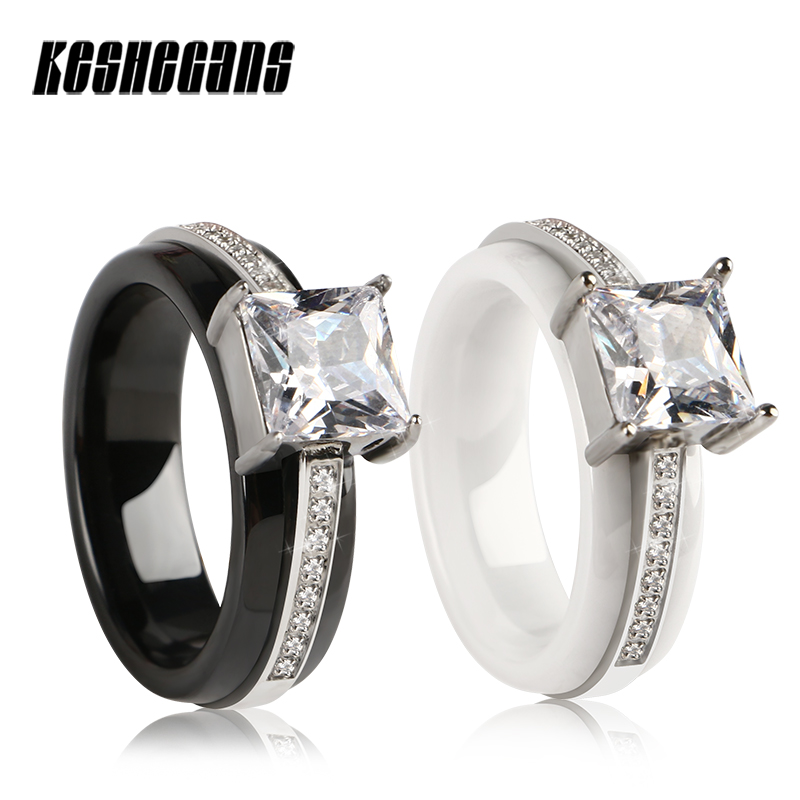лучшая цена 2018 New Design Stainless Steel Ceramic Rings For Women Party Wedding Engagement Big Crystal Finger Ring Fashion Jewelry Gifts