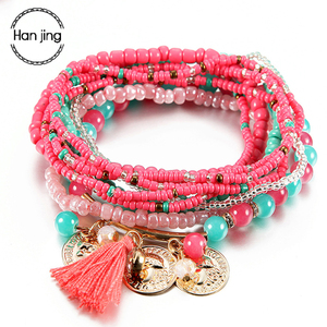 Women Bohemian Jewelry Multilayer Elastic Set Bracelets Bangles With Tassel Gold Coin Glass Beads Charm Wrap Bracelet Femme Gift(China)
