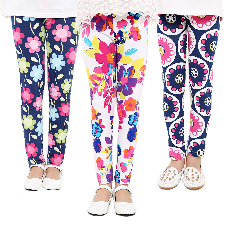 Child Youngsters Childrens Printing Flower Toddler Traditional Leggings Ladies Pants Ladies Legging 2-14Ybaby Lady Leggings