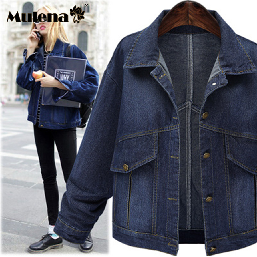 Mulena pocket casual denim   jacket   in women's   basic     jackets   high quality turn-down collar full sleeve warm denim   jacket   plus size
