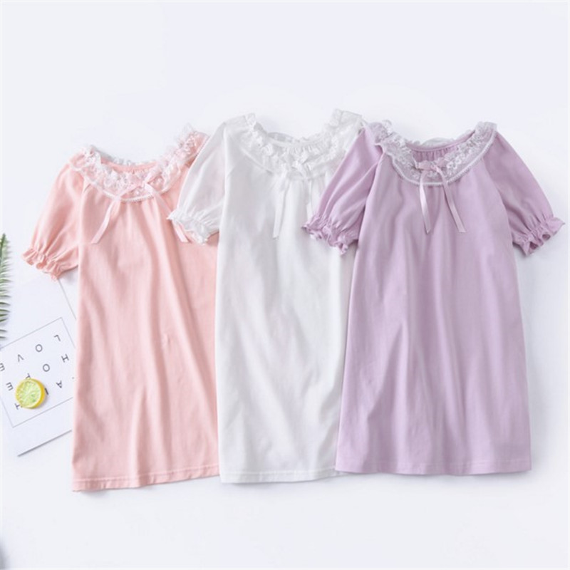 LAKAKSTY Lace Nightgown For Kids Girls 2019 Summer Night Dress Princess Children's Sleepwear Clothes Baby Girl Homewear Pijama