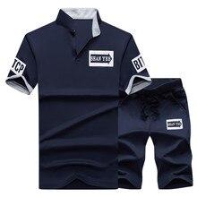 2019 trajes deportivos para hombre, trajes Polo de verano, 2 piezas, conjunto de pantalones cortos transpirables para hombre, camiseta de moda, pantalones cortos, conjunto de chándal estilo
