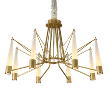 American style Chandelier light Full copper luxury Living room Crystal glass shade Droplight Post modern simple Lighting fixture